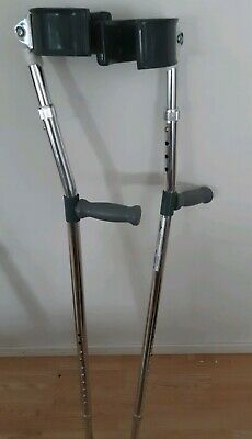 Medline Forearm Crutches MDS805160 With Cuffs Aluminum Silver Pair Adjustable