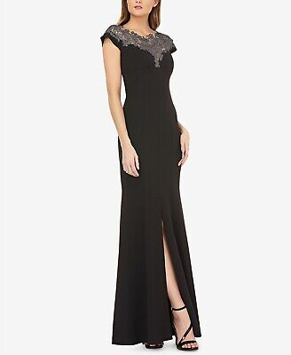 JS Collections Women's Lace Yoke Crepe Trumpet Black Gown Dress Size 4 MSRP $298