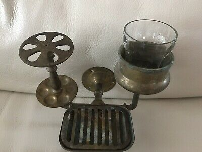 Antique Vintage Brass Victorian Cup, Toothbrush, Soap Holder Bathroom Fixture