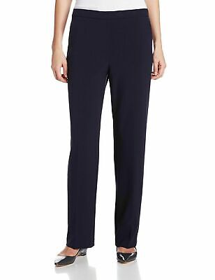 Briggs Women's Flat Front Dress Pants Slimming Solution Pull On Navy Pick Size