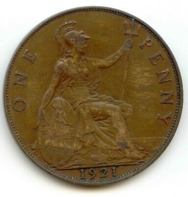 UK 1921 Bronze Penny (95% Copper) Pence Great Britain ---- EXACT COIN PICTURED