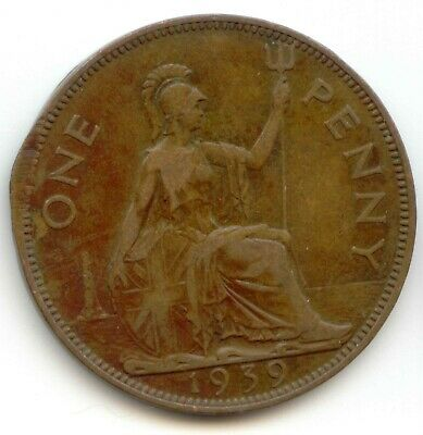 UK 1939 Bronze Penny (95.5% Copper) Pence Great Britain -- EXACT COIN SHOWN