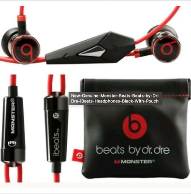 New OEM Genuine Monster Beats  Dr. Dre iBeats Headphones In Black With Pouch
