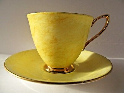 Royal Albert Gossamer Teacup Saucer Yellow Gold Trim Bone China England Vintage