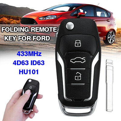 Upgraded Flip Remote Key Fob 433MHz ID63 4D63 Chip HU101 For Ford Mondeo Focus