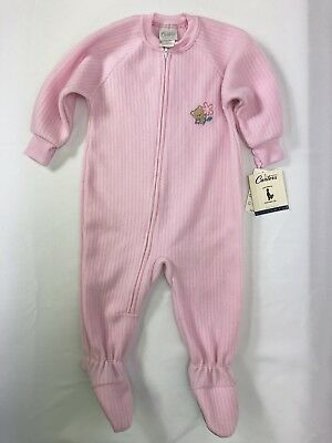Classic Carters Girls Footed Pink Fleece Zip Up Sleeper 18 Mos Vintage