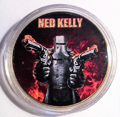 """NED KELLY"" Colour Printed 999 24k Gold plated coin, Guns, Outlaw (07)"