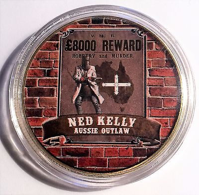 """NED KELLY"" Colour Printed 999 24k Gold plated coin, Outlaw, Reward (11)"