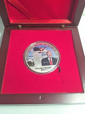 2017 Donald J. Trump 45Th President of USA Coin 999 Silver Plated in Display Box