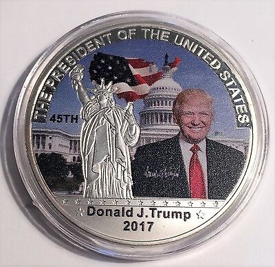2017 Donald J. Trump 45Th President of USA Coin, 999 Silver Plated in Capsule
