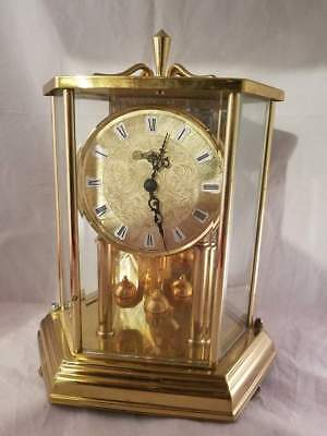 """KUNDO Brass Clock with Etched Glass Mirror Dome 10""""H Works well! Vintage Quartz"""