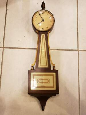 "Seth Thomas Banjo Clock 23.5""L Antique Vintage Hand Wind Wall Hanging"