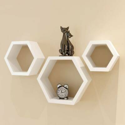 3pcs Floating Hexagon Wall Shelf Bookshelf Display Storage Shelves Bedroom Decor