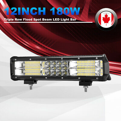 12inch 180W LED Light Bar Triple Row Flood Spot Work Driving Lights 4WD Offroad