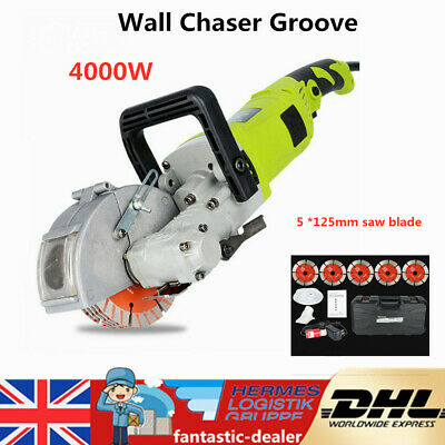 4KW Wall Chaser Concrete Saw Electric Groove Cutting Machine 5Pc 125mm Saw Blade