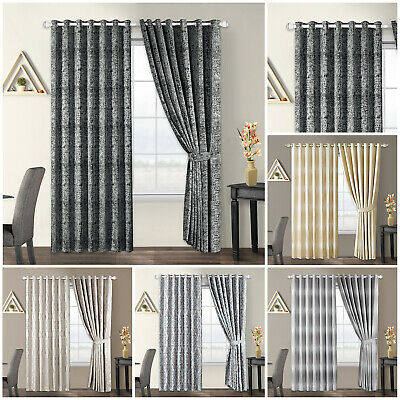 Thick Jacquard Eyelet Ring Top Ready Made Tab Top Fully Lined Curtains Panel