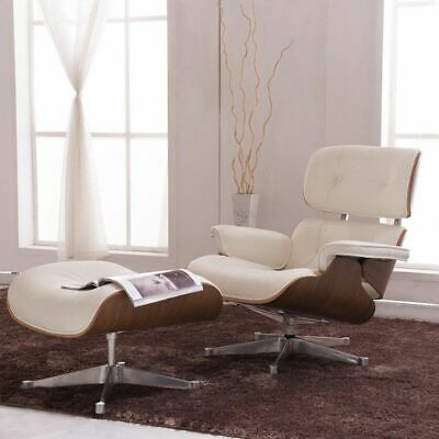 Eames Lounge Chair & Ottoman Reproduction Style White Walnut Italian Leather USA