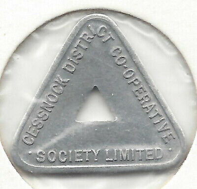 Cessnock Dist Co-Op Soc Ltd ½ Pint Milk Token Alum Triangular Holed Cat C6b Mill