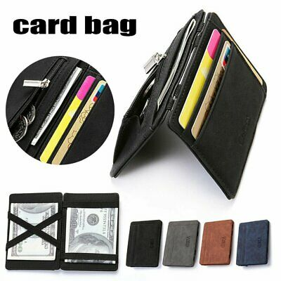 Mens Leather Ultra Slim Mini Credit & ID Card Note Case Wallet Money Holder AU
