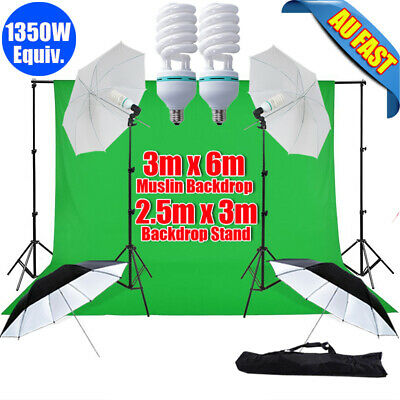 1350W Photography Umbrella Continuous Lighting Green Backdrop Support Stand Kit