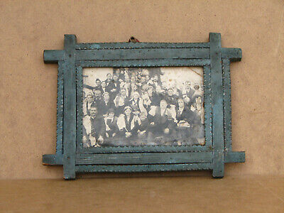Old Antique Primitive Wooden Wood Photo Frame Hand Carved Rustic 100 years