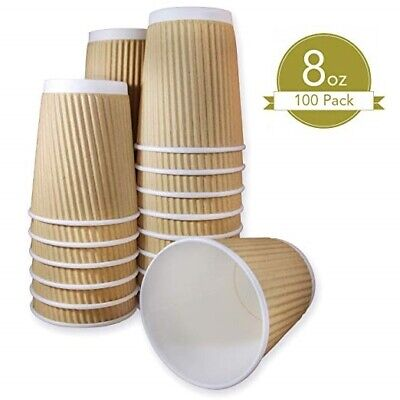 100X 8oz DISPOSABLE PAPER RIPPLE CUPS WEDDING (PARTY, COFFEE,TEA, SHOP TAKEAWAY)