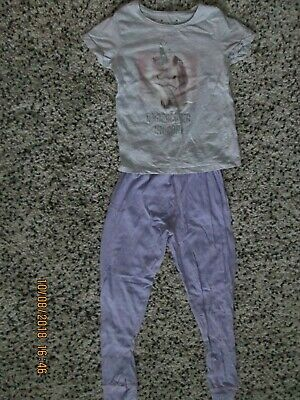 Primark, Grey,Unicorn,S/Sleeved T-Shirt, Lilac Bottoms,size 8/9 years