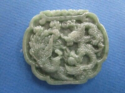 Chinese Nephrite Jade Pendant, Phoenix and Dragon with Pearl