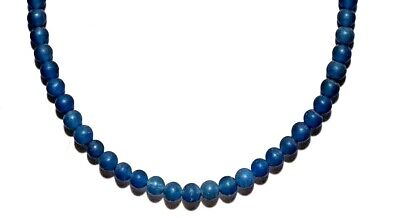 ANCIENT ROMAN  Blue Carved Peking Glass BLUE COLORED Beads Necklace RARE