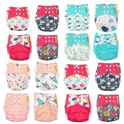 Baby Washable Reusable Cloth 0-6M, 6-12M, 0-2, 1-3, 3-6 Year Button Nappy Diaper