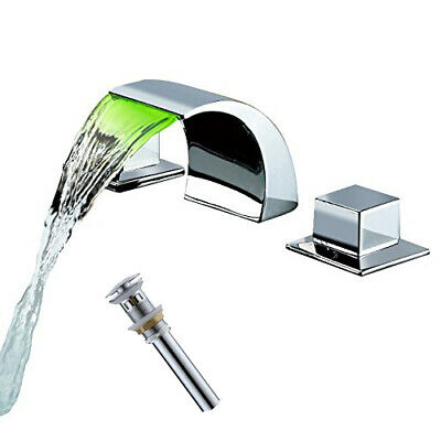 Widespread Bathroom Basin Faucet LED Waterfall Sink Mixer Tap Brushed Nickel
