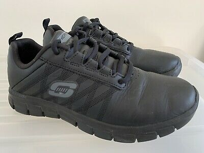 Womens SKECHERS Sure Track Erath Leather Slip Resistant Work Shoes US 7.5 #15777
