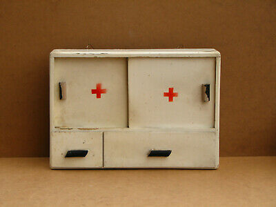 Antique Primitive Wooden Wood Medical Cabinet Wall Chest Farmhouse Rustic 60s