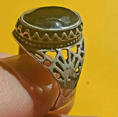 Ancient ROMAN Silver Ring With Stone artifact Amazing Piece.