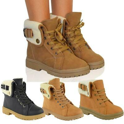 Womens Ladies Flat Ankle Boots Faux Fur Lace Up Warm Winter Worker Combat Shoes