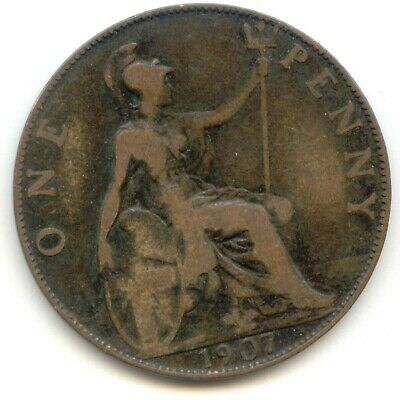 UK 1907 Bronze Penny (95% Copper) Pence Great Britain ---- EXACT COIN PICTURED