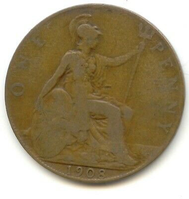UK 1908 Bronze Penny (95% Copper) Pence Great Britain ---- EXACT COIN PICTURED