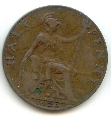UK 1924 Bronze Half Penny Pence Brittania Great Britain - EXACT COIN PICTURED