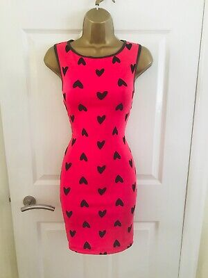 LIPSY Hot Pink & Black Love Heart Sexy Bodycon Party Mini Wiggle Dress £50