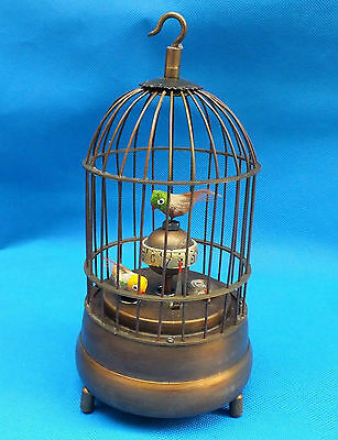 Rare brass bird cage Mechanical Table Clock Alarm Clock