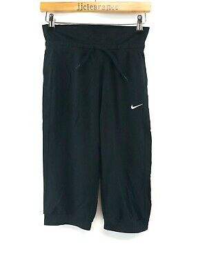 NIKE Girls Tracksuit Bottoms 3/4 Joggers Large 12-13 Years W27 L18 Black Cotton