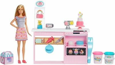 Barbie Cake Decorating Playset Blonde Baker Doll Mold 3 Designs Dough Toppers