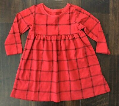 Baby Girls Old Navy Red Plaid Dress Size 6-12 Months Christmas Holiday Winter