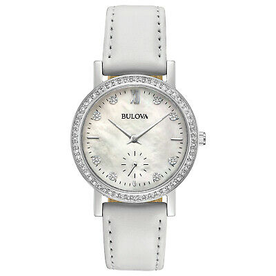 Bulova Women's Quartz Swarovski Crystal White Mother of Pearl 32mm Watch 96L245