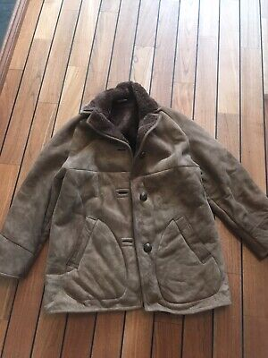 ladies vintage sheepskin coat M Brown