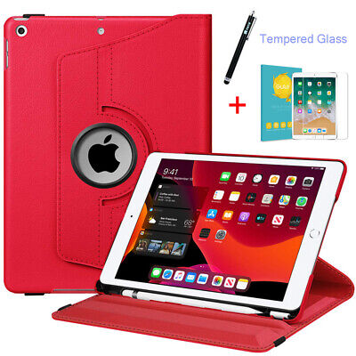 Fintie for iPad 7th Gen 10.2'' 2019 360 Rotating Case Cover +Tempered Glass+ Pen
