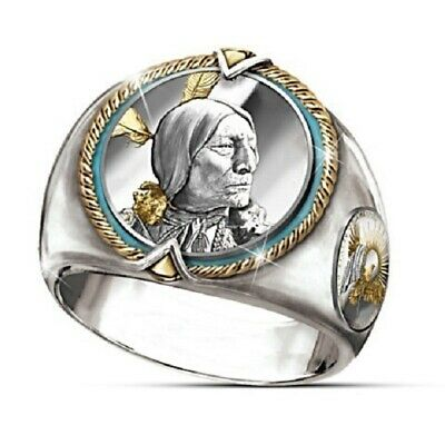 Silver Men Two Tone Indian Jewelry Mens Hip Hop Viking Eagle Ring Size 7-12