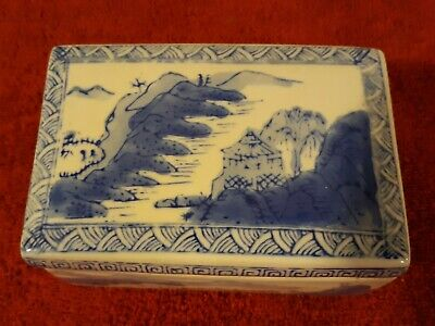 Vintage Chinese Blue and White Porcelain Covered Box w/ Lid