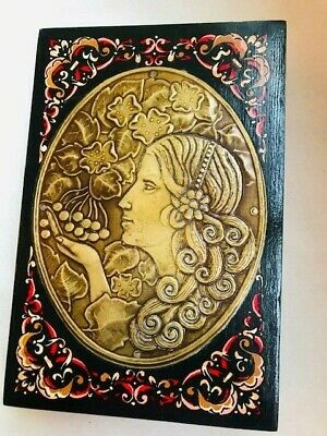 Rare Antique Continental Art Nouveau Painted Wood And Brass Jewellery Box