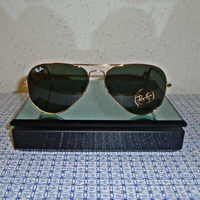 Ray Ban Aviator 3025 L0205 Size 55mm 58mm 62mm Green G15 Lens / Gold Frame NEW